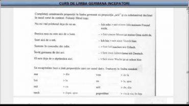 Curs de limba Germana incepatori – Lectia 16