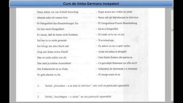 Curs de limba Germana Incepatori –  Lectia 31